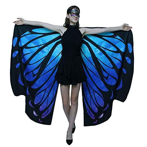 Schwarz Kostüm 3 Creed Assassin's - Schmetterling Kostüm Damen Flügel, Riou Erwachsene Schmetterlingsflügel Kostüm Doppelschicht Pixie Nymphe Schal Umhang für Hallowee Karneval Fasching Kostüme Party Cosplay