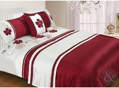 Just Contempo - Juego de cama (5 piezas: funda nórdica 2 fundas de almohada manta pie de cama de 50 x 220 cm y funda de cojín de 457 x 457 cm) diseño floral color rojo y crema