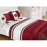 Just Contempo Floral Duvet Bedding Set, 5 Pieces - King, Red