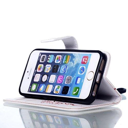 iPhone Case Cover Riemen Lanyard Kunststoff PU Ledertasche Folio Wallet Fall Shell mit Kartenschlitzen Magnetverschluss Geprägte Blumen Muster Fall Deckung für iPhone 5S 5 SE ( Color : Purple , Size : White