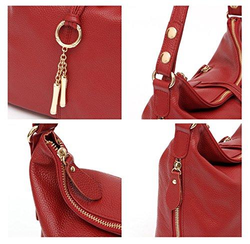 Artone Damen Echtes Leder Ring Tragetasche Handtasche Schultertaschen 2 Weg Rot Rot
