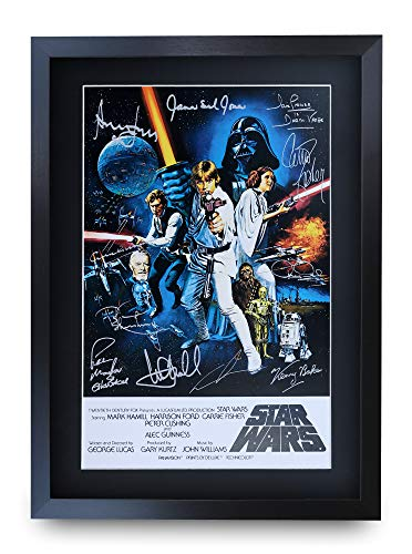 HWC Trading Star Wars A3 Gerahmte Signiert Gedruckt Autogramme Bild Druck-Fotoanzeige Geschenk Für Mark Hamill Harrison Ford Carrie Fisher ALEC Guinness George Lucas Filmfans -