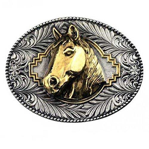 Fibbia Horse Head, 24 ct. Oro occidentale Buckle