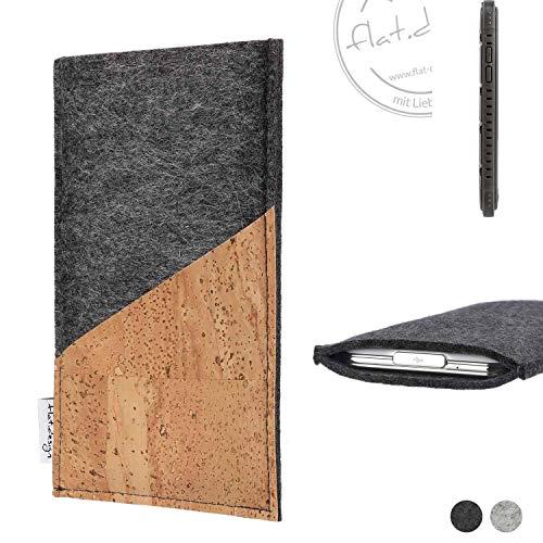 flat.design Handy Hülle Evora für Cyrus CS 35 handgefertigte Handytasche Kork Filz Tasche Case fair dunkelgrau