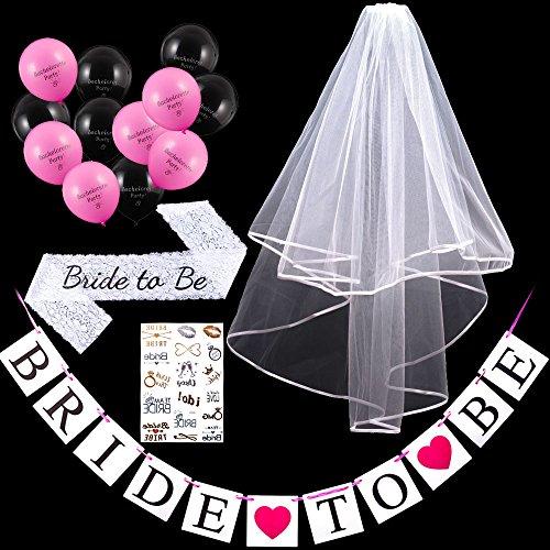 Bride to be Hochzeit Brautschleier Braut Schleier + Schärpe + Balloons + Banner + Tattoo 5 Stück Set Hochzeit Junggesellinnenabschied Party Accessoires Frauen Deko Fotorequisiten künstlichen Weiβ LONGBLE