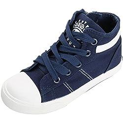 Kentti Zapatillas Altas de Lona de Rayas Casuales con Cordones para niños Azul- 26 EU