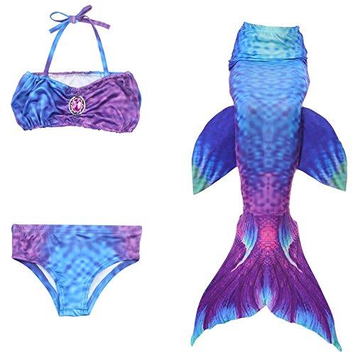 Fanryn niedlich Mädchen Meerjungfrau Schwimmanzug Stil Badeanzüge Bikini Kostüm Badeanzug Kann Monofin treffen für Kinderschwimmen Schwimm (Viking Erwachsene Outfits Für)