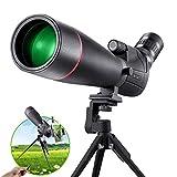 HUTACT Telescopio Terrestre Profesional, con Zoom 20-60x Ae, Lente Objetivo de 80 mm, Aapta para Observación de Aves, Tiro al Blanco (con un Clip para Teléfono Móvil, Trípode y Disparador Remoto)