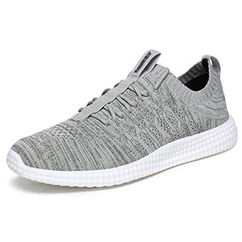 MUOU Schuhe Herren Sneaker Atmungsaktive Freizeitschuhe Lace-Up Männer Turnschuhe Mesh Wohnungen Laufschuhe (42, Grau) - Lace Up Mesh Sneakers