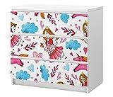 Set Möbelaufkleber für Ikea Kommode MALM 3 Fächer/Schubladen Fee Prinzessin rosa Hintergrund Zauberstab Kat2 KInderzimmer ML3 Aufkleber Möbelfolie sticker (Ohne Möbel) Folie 25C2540