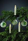 Hellum LED Weihnachtsbaumkerzen kabellos (Basis-Set), 10x warmweiß LED Kerzen mit Fernbedienung, batteriebetriebene 14x2cm Christbaumkerzen ohne Kabel, elfenbein Wachstropfen 602630