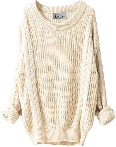 LinyXin Damen Winter Kaschmir übergroße Pullover Kleid Gestrickte Lose Langarm Rundhalsausschnitt Warmer aus Wolle Oversized Pullover (Beige)