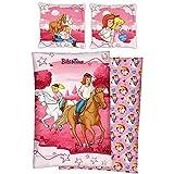 Bibi und Tina Kinder Wende-Bettwäsche Reiter Pink 135 cm x 200 cm + 80 cm x 80 cm 100% Baumwolle in Linon-Qualität Bibi Blocksberg Tina Martin Pferde-Bettwäsche Sabrina Amadeus Deutsche Größe m. Reißverschluss 19R