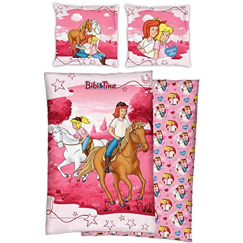 Bibi und Tina Kinder Wende-Bettwäsche Reiter Pink 135 cm x 200 + 80 x 80 cm 100% Baumwolle Linon Bibi Blocksberg Tina Martin Pferde-Bettwäsche Sabrina Amadeus Deutsche Größe Reißverschluss 19R