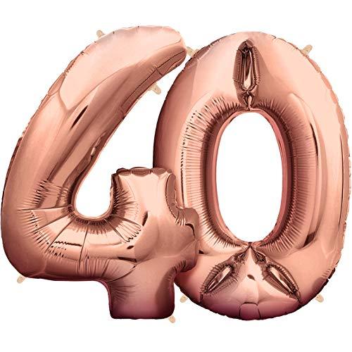 (Zenball Rose XXL Folienluftballon (100cm) - Zahl 40 - Riesige Heliumluftballons als Dekoration zum 40. Geburtstag)