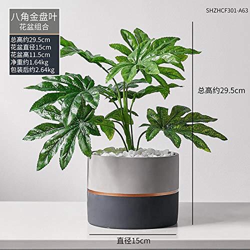 afbaby Planta de Flores Artificiales Planta Verde Adornos en macetas Piso Maceta...