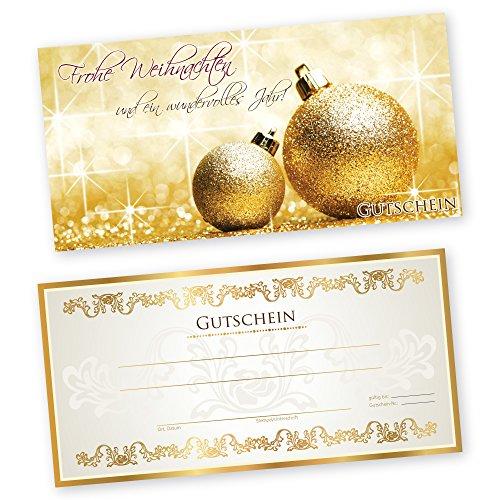 50 Weihnachtsgutscheine Gutscheinkarten XMAS GOLD 1 Gutscheine Geschenkgutscheine Gutscheinkarten