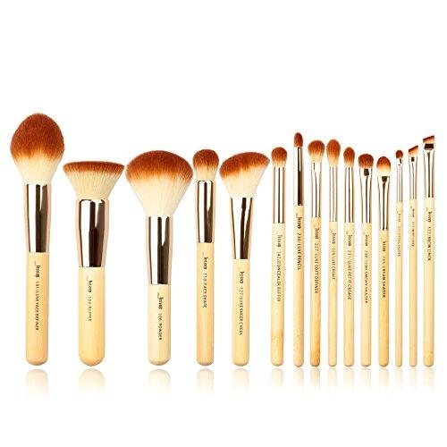 Jessup Bambou Poignées 15 pcs Fond de teint visage Power Crème Anti-cernes Polissoir à joues faite à la main Fibre Cheveux Beauté Maquillage kit et ensemble de T140