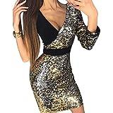Hongxin Damen Pailletten Kleid Partykleider V-Ausschnitt Sexy Slim Fit Einzelhülse Cocktailkleid Schlank Bodycon Minikleid, S-XL Schwarzes Gold