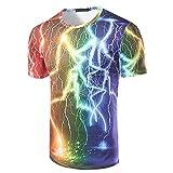 Zhiyuanan Herren Graphics Tee Shirt Abstrakte 3D Gedruckt Mit Regenbogen Blitz Kurzarm Rundhals T-Shirt M