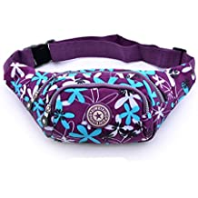 Cygoshop - Riñonera deportiva para mujer - Ideal para practicar deportes al aire como senderismo, escalada, etc, Purple with blue leaves