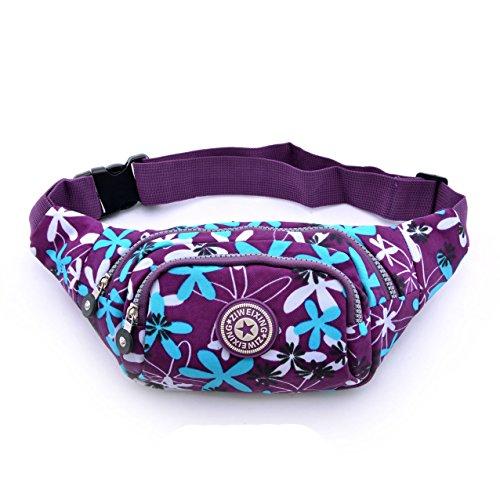 Cygoshop - Riñonera deportiva para mujer - Ideal para practicar deportes al aire como senderismo, escalada, etc, Purple with blue leaves