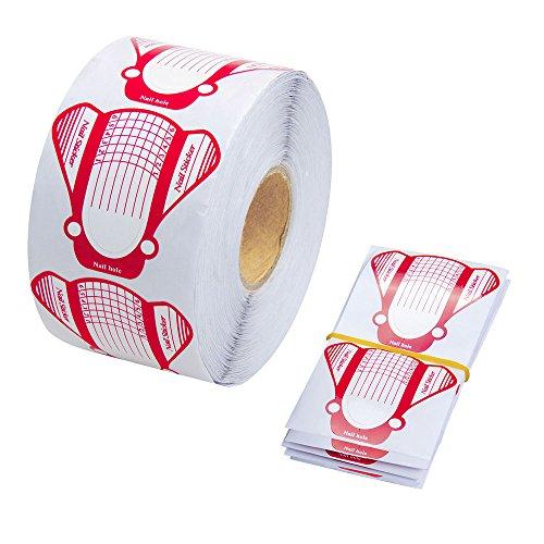 500 Stück Nagel Schablonen Modellierschablonen selbstklebend für Gel Nägel,Nagel Verlängerung Rosa Schablonen