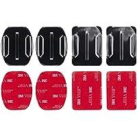 MadridGadgetStore® 4 Soportes Planos + Curvados Curvos + Adhesivos Pegatinas Stickers 3M para Cámara de Acción Deportiva Go Pro GoPro HD Hero7 Hero6 Hero5 Hero4 Hero3+ Hero3 Hero 7 6 5 4 3+ 3 2 1 (Black, Silver, White) 2018 4K60 Session Sjcam Sj4000 Sj5000 Sj6000 Sj7000 M10 M20 ActionPro x7 Xiaomi Yi 2 4K Campark Rollei Montaje Lateral Frontal Superficie Plana Curva en Casco Helmet Repuesto Spare Recambio Alta Calidad Envío Gratis