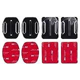 MadridGadgetStore® 4 Soportes Planos + Curvados Curvos + Adhesivos Pegatinas Stickers 3M para Cámara de Acción Deportiva Go Pro GoPro HD Hero5 Hero4 Hero3+ Hero3 Hero 5 4 3+ 3 2 1 Black Silver Session Sjcam Sj4000 Sj5000 Sj6000 Sj7000 M10 M20 ActionPro x7 Xiaomi Yi 2 4K Campark Rollei Montaje Lateral Frontal Superficie Plana Curva en Casco Helmet Repuesto Spare Recambio Alta Calidad Envío Gratis