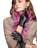 YISEVEN Damen Touchscreen Schaffell Lederhandschuhe flach mit Wolle Warm Gefüttert Elegant Winter Leder Autofahrer-Handschuhe, Schwarz XXL/8.5