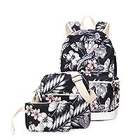 Joymoze Waterproof Fashion Printed School Backpack for Girl Cute Laptop Backpack Set 3 Pieces for Women Casual Shoulder Bag Floral 825