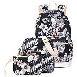 Joymoze Mochila Escolar Impermeable Impresión Moderna para Chicas-Linda Mochila para Portátil - Conjunto De 3 Piezas para Mujeres Bolso De Hombro Casual Floral 825