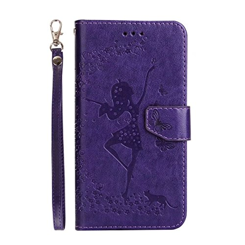 Abnehmbare 2 in 1 Crazy Horse Texture PU Ledertasche, Fairy Girl Embossed Pattern Flip Stand Case Tasche mit Lanyard & Card Cash Slots für Huawei P10 Lite ( Color : Rosegold ) Purple