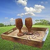 Holz handgefertigt 38,1x 25,4cm Tablett–Serviertablett aus Holz–für Frühstück im Bett, Party Service, und mehr Einzigartiges Design, spezielle Weihnachten Geschenk von Affaires m-40011