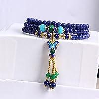 OMZBM Natürliche Saphir Armband Healing Power S925 Sterling Silber Handgemachte Schmetterling Quaste Halskette Schmuck Für Frauen Schmuck