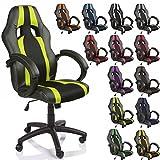 TRESKO® Chaise Fauteuil siège de bureau racing sport rayé ergonomique inclinable accoudoirs rembourrés, de 13 couleurs différentes, Lift SGS contrôlé (noir/vert clair)