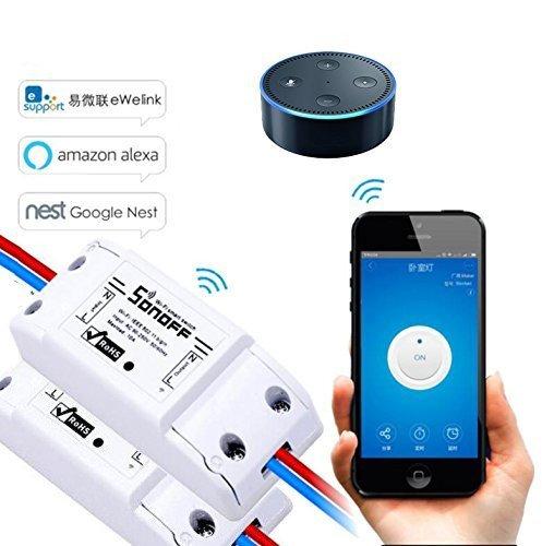 EVILTO Sonoff DIY Wireless Smart Switch Smart Home Controllato Interruttore Intelligente WiFi Domestica Telecomando per iOS Android App Elettrodomestico (2pcs)