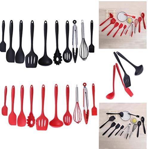 10Pcs / Set schwarzen Silikon Nonstick Backen Topfset Haushalt Küche, das Werkzeug Kochgeräte Gadgets Rot/Schwarz (Werkzeug-sets Zangen Turner)