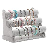 Globalflashdeal Triple Bracelet Holder, 3 Tier Jewelry Display Stand Watch Bangle Bar Necklace Storage Organizer (Gray)