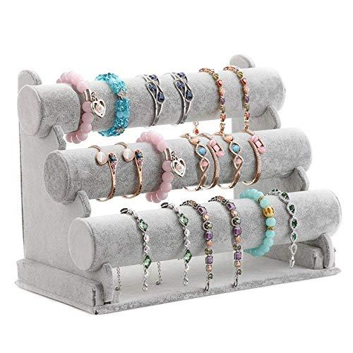 XZANTE Soporte de Pulsera de Triple Soporte de Exhibición de La Joyería Organizador de Almacenamiento de Reloj Brazalete Bar Collar Gris