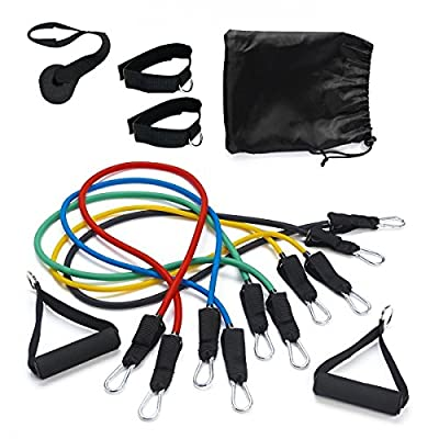 Resistance Exercise Fitness Bands Tubes Ropes Set - Different Tension Levels 5 Tube Set with Handles, Door Anchor, Ankle Straps and Carry Bag 11PCS Set, Ideal for Home Fitness / Travel Fitness / Strength / Yoga / Pilates / Abs / Workout with Workout Guide