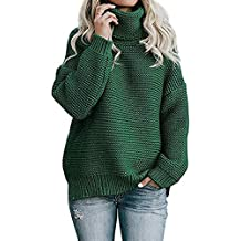 92cc3b67844 Yidarton Femme Pull Col Roulé à Manches Longues Sweater Blouse Chic Chaud  Tricot Hauts Pullover Tops