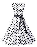 Caissen Damen 1950er Knielang Audrey Hepburn Vintage Rockabilly Gepunktet Swing Kleid Party Cocktailkleid mit G¨¹rtel Wei? Schwarze Gepunktet Gr??e L