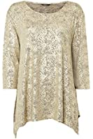 Roman Originals - Women's Metallic Swing Top - Sparkly Long Sleeved Top Party Evening Occasion - Ladies Metallic Gold Sizes 10-20