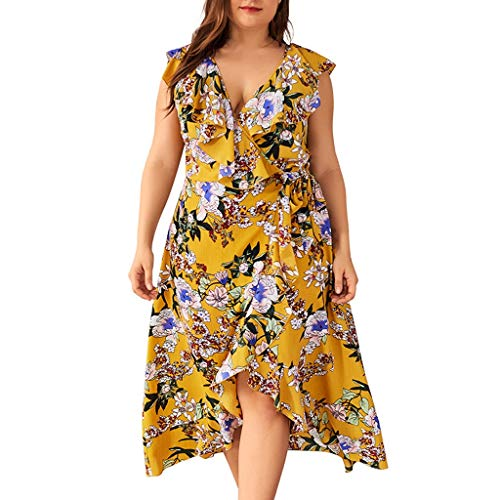 VEMOW Plus Size Elegante Damen Frauen Casual Kurzarm Kalt Schulter Boho Blumendruck Casual Täglichen Party Strand Langes Kleid Schulterfrei Strandkleid (Ausgefallene Kleider Für Babys)