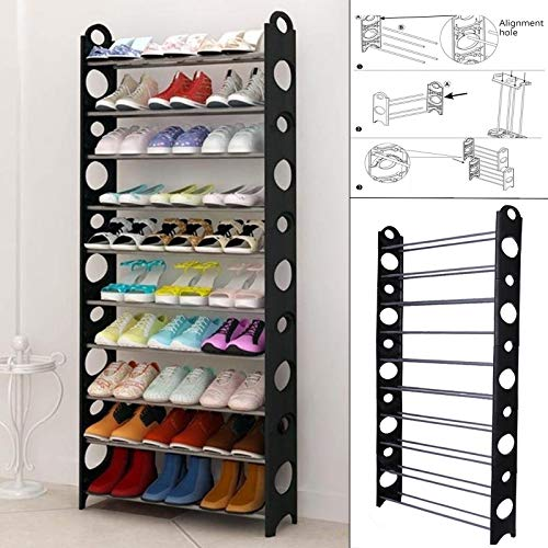 Space-saving Storage-systeme (Safecom -10 Tier Adjustable Shoe Storage Shoe Rack Organiser Shelf Hold Stand for 30 Pairs, Space Saving, Easy Assemble - 63x 20 x 156 cm (L x W X H))
