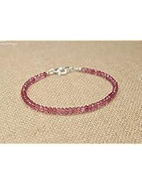 Tormalina rosa braccialetto, rosa tormalina gioielli 3mm gioiello, portafortuna,