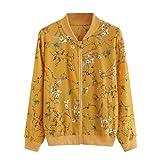 Manteau Veste Blouson Amlaiworld Femmes Autonme/Printemps Femme Mousseline de Soie Fahion Fleuri Blouson Veste Molto Vest Manches Longues Floral Print Zipper Bomber Jacket