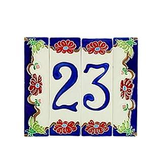 Hausnummern aus Keramik, Hausnummer Keramik Blume, Dübel Keramik NF 2.Dim: Höhe 15cm, Breite insgesamt 17,4cm