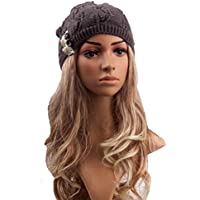 Pixnor Mujeres Beanie sombrero lana de punto invierno de mujer caliente de esquí Snowboard deja hueco a tejer sombrero gris carbón